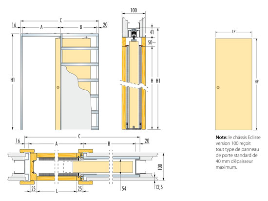 Paris portes produits chassis coulissants - Epaisseur porte a galandage ...